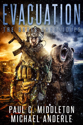 Post-Apocalyptic book cover design, ebook kindle amazon, Paul C Middleton, Michael Anderle, Evacuation