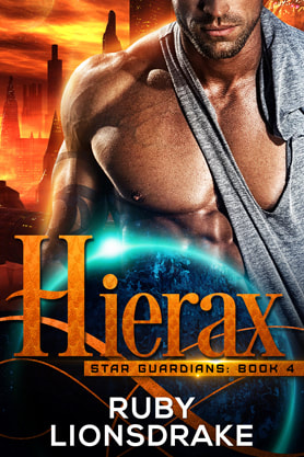 Science Fiction Romance book cover design, ebook kindle amazon, Ruby Lionsdrake, Hierax