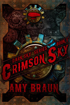 Steampunk book cover design, ebook kindle amazon, Amy Braun, Crimson