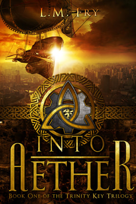 Steampunk book cover design, ebook kindle amazon, L M Fry, Aether