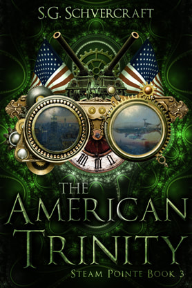 Steampunk book cover design, ebook kindle amazon, S G Schvercraft, Trinity