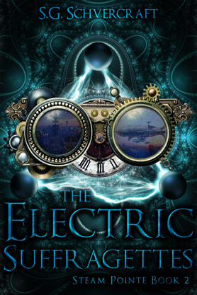 Steampunk book cover design, ebook kindle amazon, S G Schvercraft, Electric