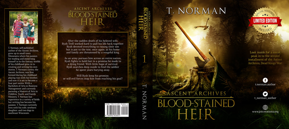 Dust Jacket cover design for Hardcover : Blood-Stained Heir by T.Norman