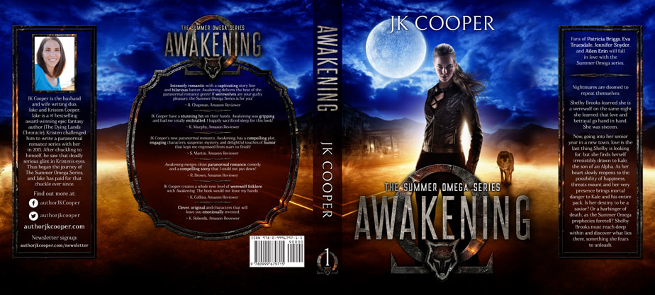 Dust Jacket cover design for Hardcover : Awakening by JK Cooper