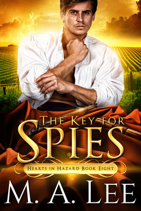 Historical romance book cover design, ebook kindle amazon, M.A.Lee, The key for  Spies