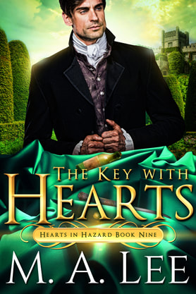Historical romance book cover design, ebook kindle amazon, M.A.Lee, The Key with  Hearts