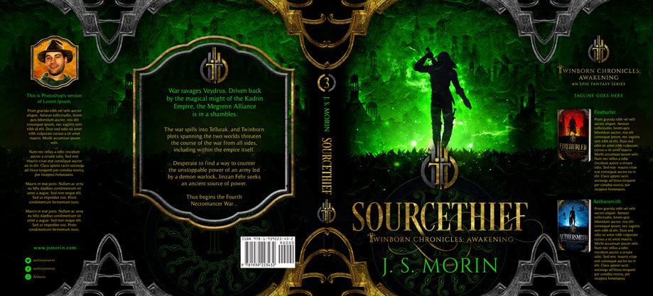 Dust Jacket cover design for Hardcover : Sourcethief by J S Morin