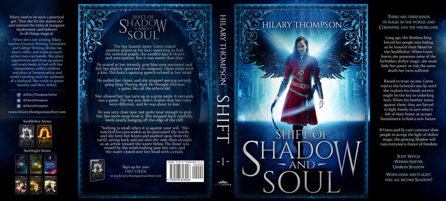 Dust Jacket cover design for Hardcover : Shift Of Shadow And Soul by Hilary Thompson