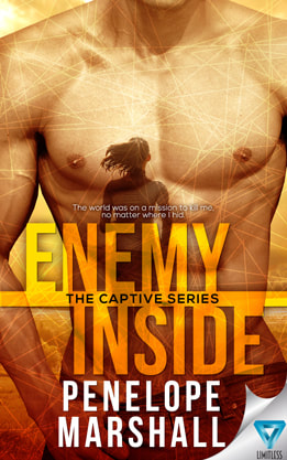 Romantic (New Adult) Suspense book cover design, ebook kindle amazon, Penelope Marshall, Enemy
