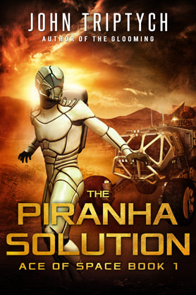 Science Fiction Fantasy book cover design, ebook kindle amazon, John Triptych, Piranha