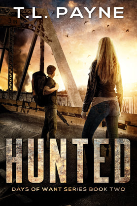 Post-Apocalyptic book cover design, ebook kindle amazon, Hunted, TL Payne