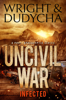 Post-Apocalyptic book cover design, ebook kindle amazon, Wright and Dudycha, Infected