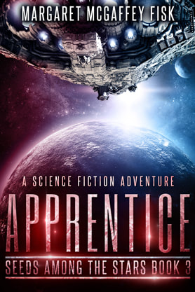 Science Fiction Fantasy book cover design, ebook kindle amazon, Margaret McGaffey Fisk, Apprentice