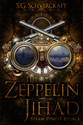 Steampunk book cover design, ebook kindle amazon, S G Schvercraft, Zeppelin